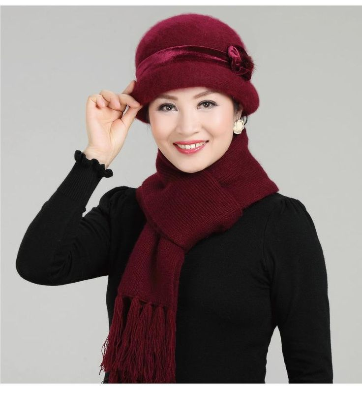 New Fashion Women Winter Hat Sets Floral Bonnet Wool Mixed Rabbit Fur Warm Hat Scarf Outdoor Knitted Fedora Baggy Headwear Cap