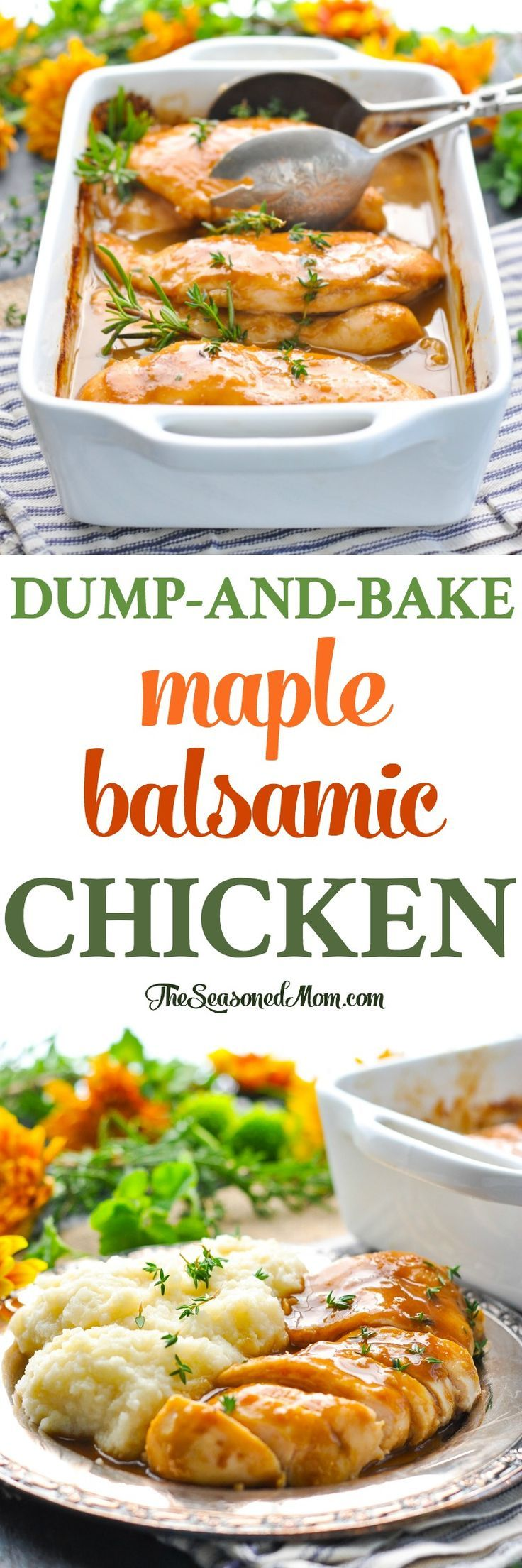 Just 10 minutes of prep for this easy dinner: Dump-and-Bake Maple Balsamic Chicken! Healthy Dinner Recipes | Chicken Breast Recipes #chicken #dinner #chickenbreast #realfood