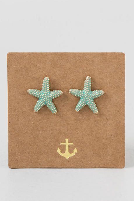 These delightful Starfish Studs are a great way to start off the summer! The gold starfish studs are painted mint color and finished with a post back. Wear these with your favorite summer dress & wedges to start the summer off right!<br /> <br /> - Nickle & Lead free<br /> - Imported