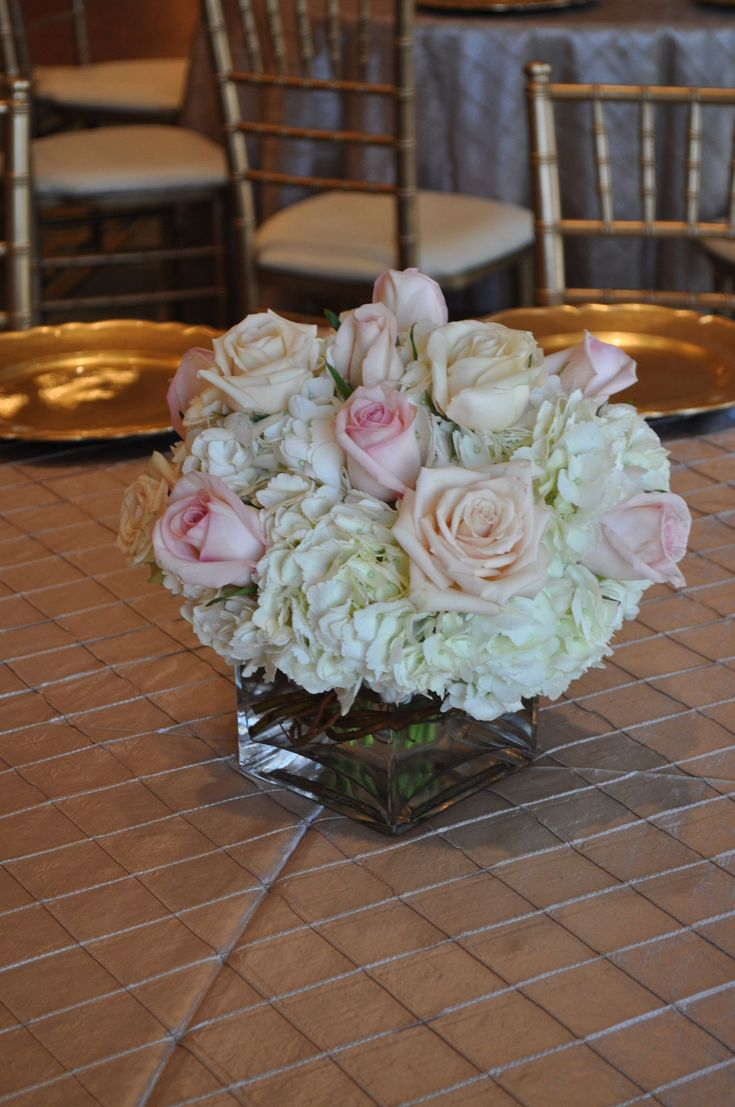 Soft and elegant cube vase with all white hydrangea
