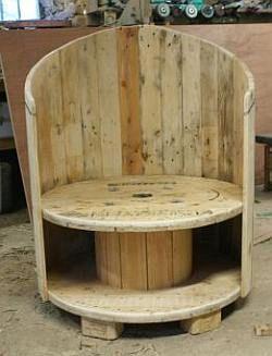 haspel stoel | Tuinstoel om zelf te maken van een haspel en planken van een pallet.