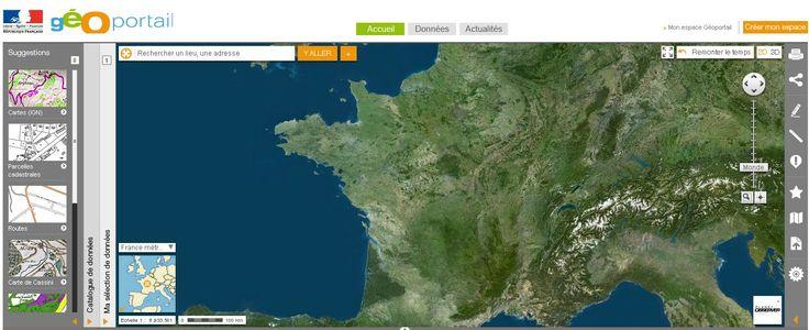 Géoportail est le portail des territoires et des citoyens : il permet de visualiser l'espace qui nous entoure (il est possible de voir les parcelles cadastrales, les unités administratives, les limites et frontières, les axes routiers...).