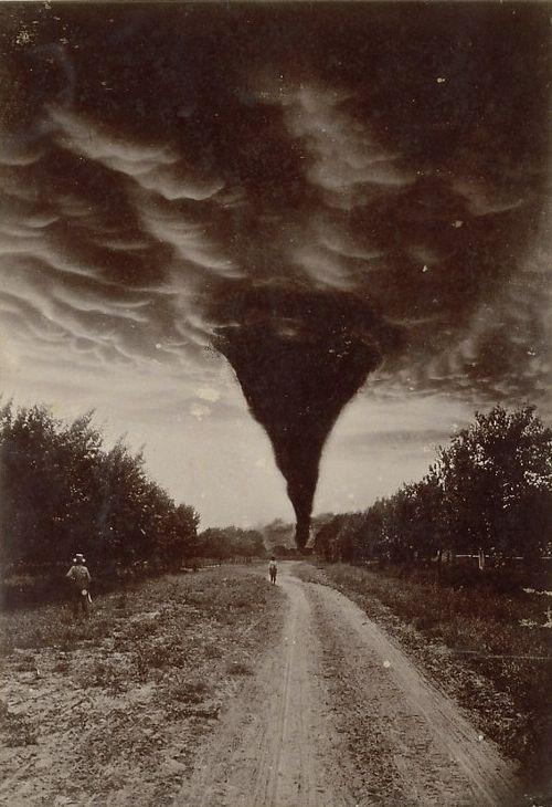 Oklahoma tornado captured in a 1898 photo.