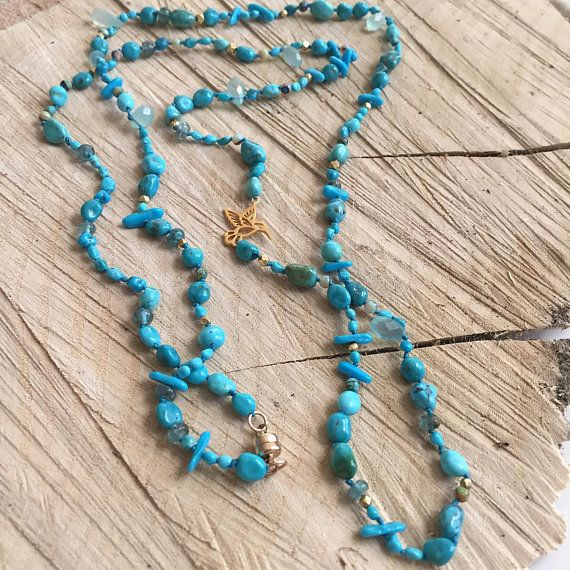Long Turquoise  Opal Knotted Necklace