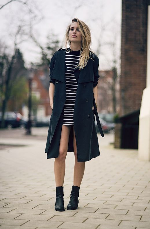 RAINY DAY STYLE: TRENCH COAT + STRIPED DRESS