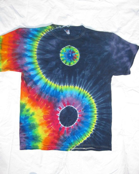 Tie Dye Navy and Rainbow YINYANG Shirt size by EarlyLightDyes, $25.00
