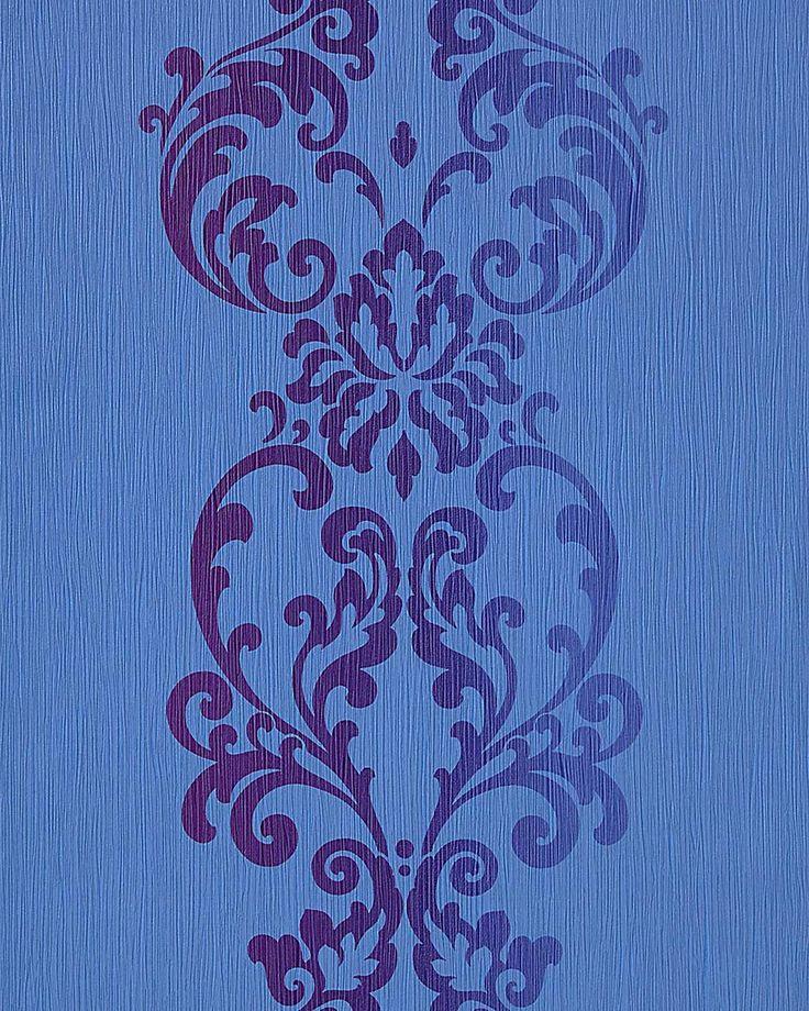 Carta da parati barocco moderno in blu azzurro viola EDEM 17822  001
