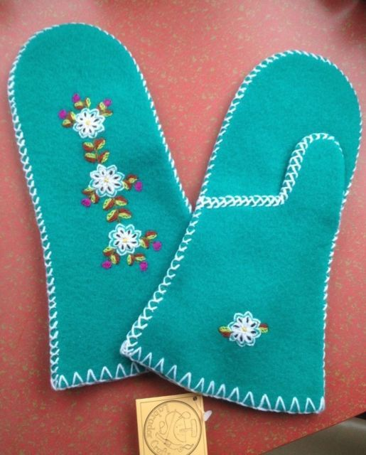 Handcrafted Inuit Eskimo Wool Felt Mittens Never Worn with Tags Labrador Canada   eBay