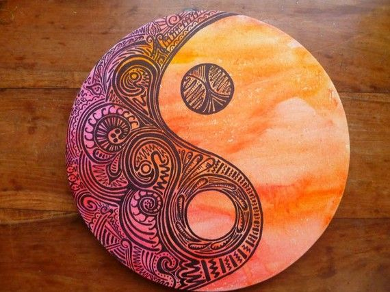 Ying Yang water colour doodle art by ToCatchAdaydream on Etsy