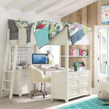 Beadboard Loft Bed #pbteen Another great guest room/office hybrid option.  Could actually do away with my separate desk with this one. Available in white, black, two wood stains. Downside? Full bed only, no queen option. And obviously NO to that hideous bedding.