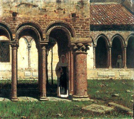 "Cabianca, Vicenzo (1827-1902) - 1867 The Portico of San Zeno in Verona (Accademia Ligustica, Genova, Italy) ""Macchiaioli"" Painters VINCENZO CABIANCA (Verona, 21 giugno 1827 – Roma, 21 marzo 1902) #TuscanyAgriturismoGiratola"