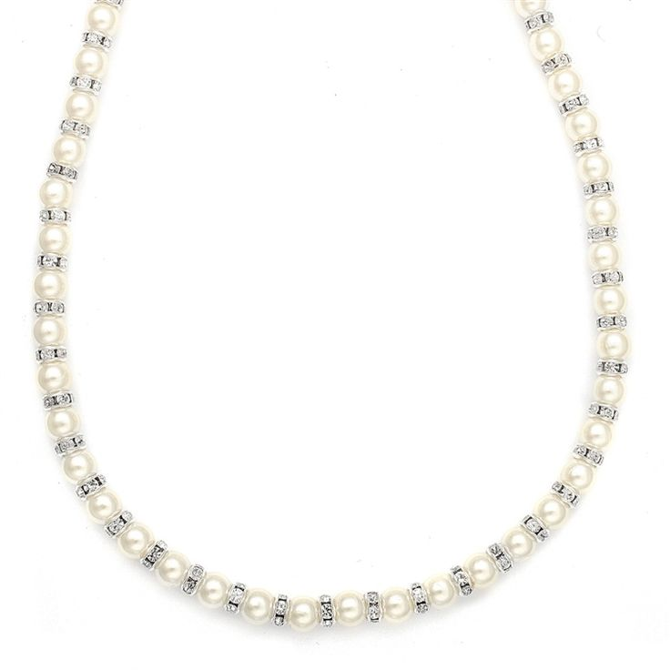 Accessorize your bridal or special occasion gown with this exquisite pearl and rondelle necklace hand-made in the USA in White or Ivory pearl colors.