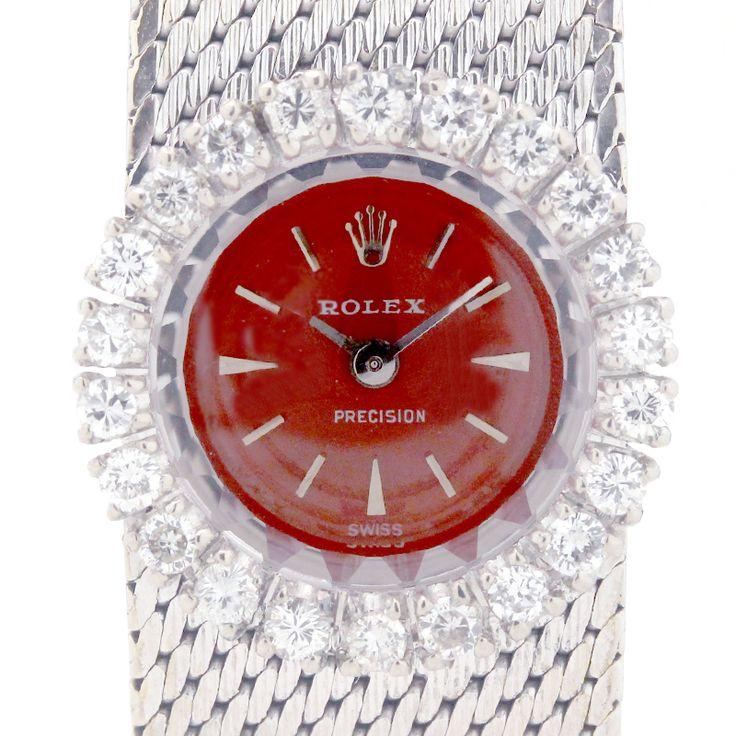 【商品名】ロレックス(ROLEX)  1400 プレシジョン 手巻き ダイヤベゼル レッド文字盤 K18WG 750 レディース 時計【価格】¥378,000【状態】A 多少の傷・汚れが見受けられますが全体的には綺麗な状態の中古商品です。【素材】K18WG 750 ダイヤ