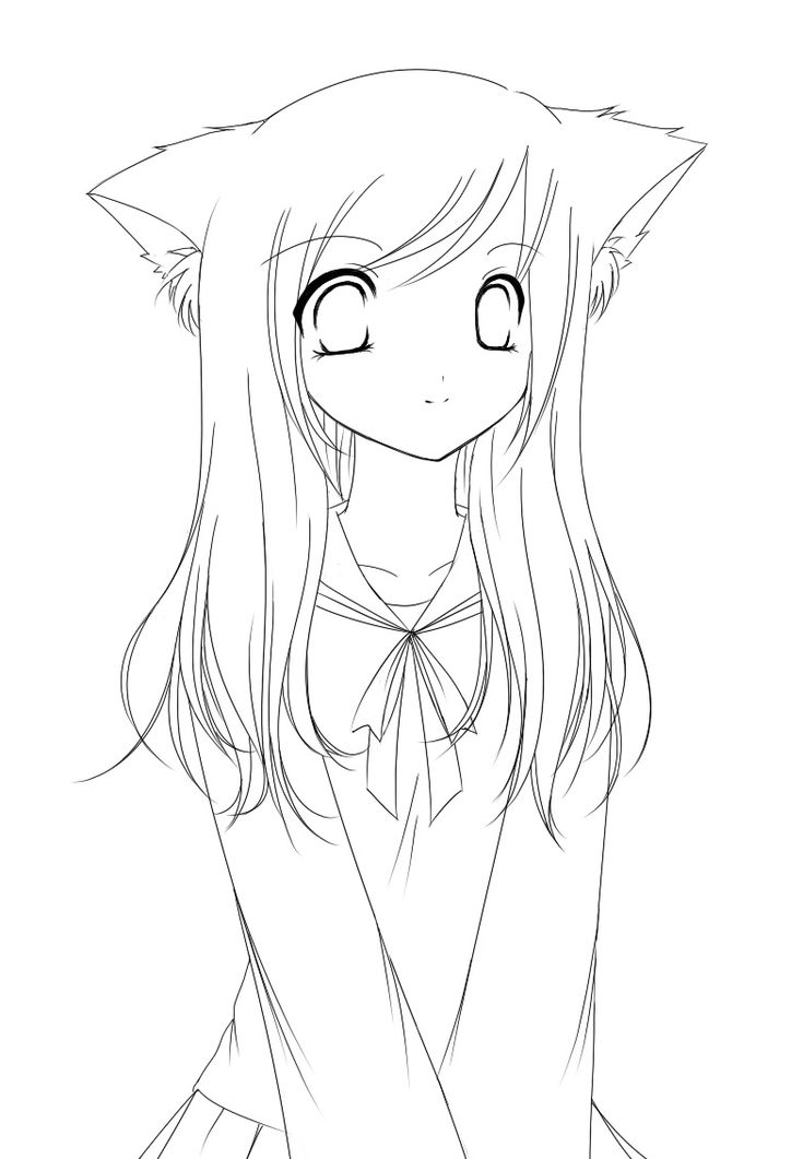 lineart cat girl anime girl coloring pages for kids