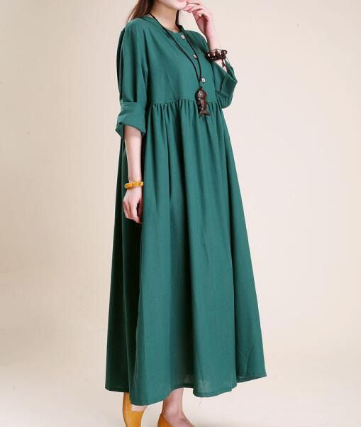 Simple atmospheric linen  Maxi dress women tunic Long dress