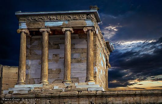 An outstanding photograph of the Temple of Athena Nike on the citadel of the Acropolis.