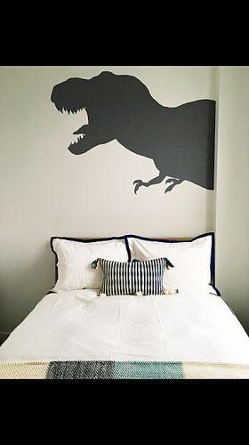 DINOSAUR BEDROOM MURAL kids children boys bedroom mural dinosaur shadows color block gray hand painted interior design stencil pattern  NYC (347) 223-7533   info@muralpainternyc.com www.muralpainternyc.com