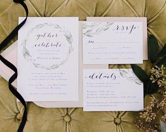 Eucalyptus Laurel Wreath Wedding Invitation Suite, Modern Wedding Invite, Refined Farmhouse Wedding Invitations, Calligraphy Greenery Invite