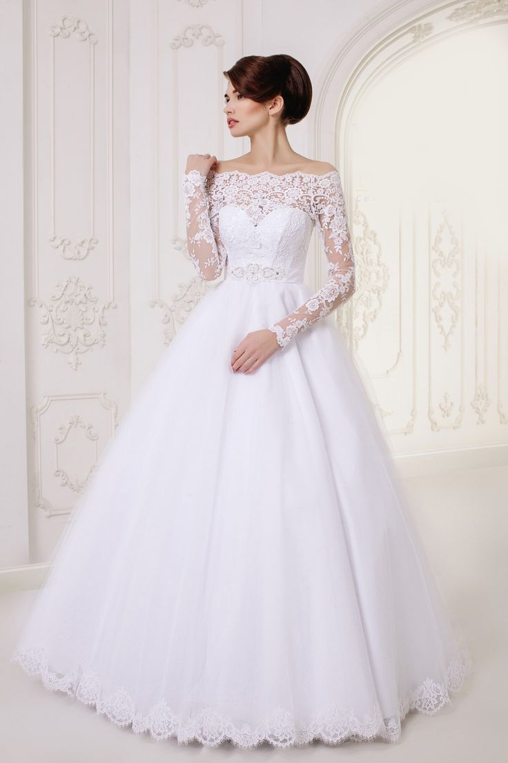 Long A Line Lace Long Sleeves Wedding Dress
