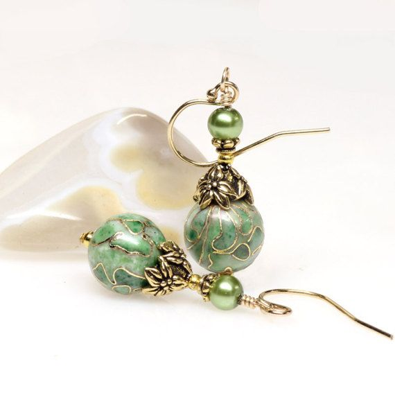 Green Cloisonne Earrings Gold Filled Wires Green by ElandraDesigns