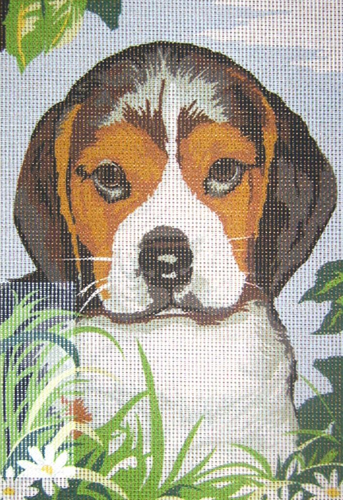 Beagle Puppy Needlepoint Kit or Canvas