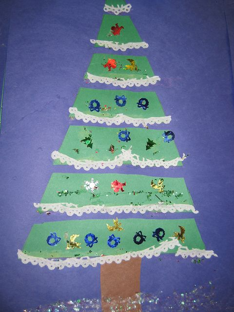 Christmas Tree Craft - good cutting practice activity and using up doily bits for the lace trim...