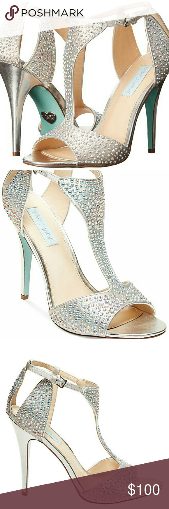 """Betsey Johnson Crystal Wedding Heels New in box, never worn. Blue by Betsey Johnson """" I Do"""" wedding heels. Silvery champagne color with iridescent rhinestone crystals. Size 8.   Open toe, adjustable ankle straps, 4"""" heels. More photos available, just ask! Betsey Johnson Shoes Heels"""