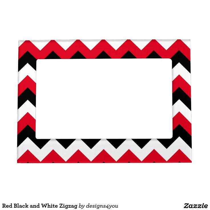 Zigzag blanco y negro rojo marcos magnéticos de fotos