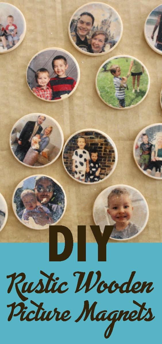 DIY Wooden Photo Magnets for Father's Day #magnets…