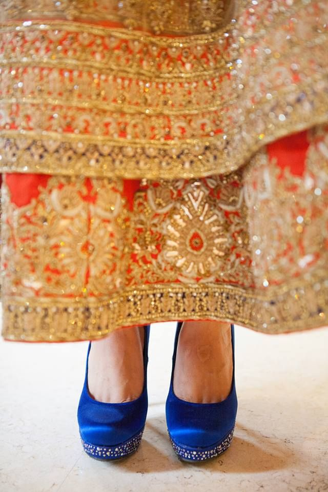 Wedding Shoes - Blue Pumps with Silver Swarovski Studded Jimmy Choo | WedMeGood #wedmegood #shoes #pumps