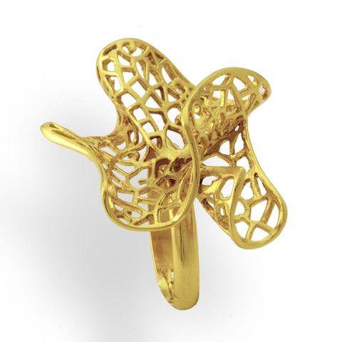 Handmade Gold Plated Bronze Flower Ring