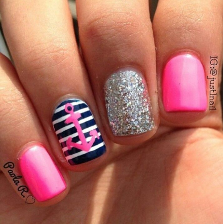 Pink silver glitter blue and white nautical themed nails❤ ❤ ❤ anchor nail  art, nautical nail art❤ ❤ ❤️if I get acrylic this is what I'm getting - 78 Best Anchor Nails Images On Pinterest Anchor Nails, Anchors