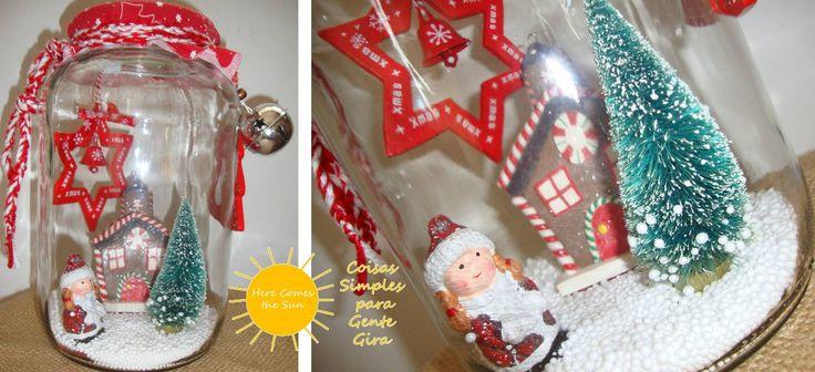 Frasco giga com menina em cerâmica e cenário de neve. Natal de 2016