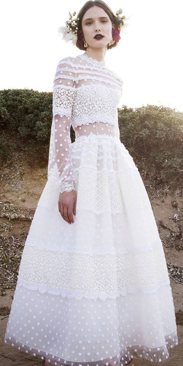 boho bridal gowns lace long sleeve wedding dressses 3