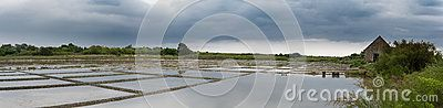 Salt marshes at La Trinité sur Mer in Brittany with cloudy sky background
