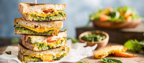 Vegan Grilled Cheese with Pesto and Arugula Nectarine Salad