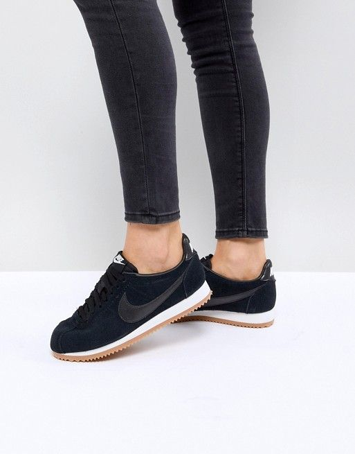 Nike Classic Cortez Trainers In Black Suede With Gum Sole   BLACK ON ... 6f0e8ad79b