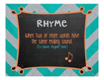There are 12 posters. Each poster gives the definition of the term and most list an example. These can be used for bulletin boards, in learning centers, etc. Terms covered are: -Poem -Rhyme -Rhythm -Repetition -Verse -Stanza -Sensory Poem -Alliteration -Simile -Metaphor -Hyperbole -Onomatopoeia