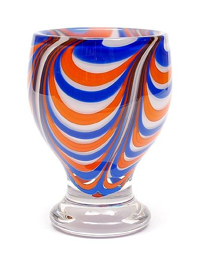 Freeblown vase Softpot combed red white and blue glass-layers with clear glass overlay design Willem Heesen 1974 executed by Glasfabriek Leerdam / the Netherlands