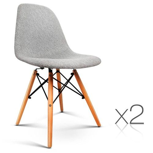 Replica Eames Dining Chairs Set Of 2 Eiffel Design Chairs For Cafe Kitchen  Beech Fabric Grey