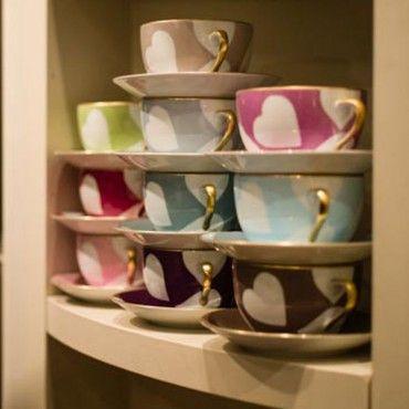 Heart Tea Cup & Saucers | Nina Campbell Nina Campbell