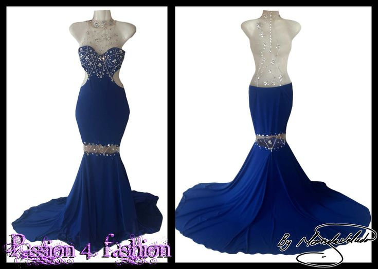 Royal blue soft mermaid dress, with an illusion back and neckline, detailed with silver beadwork. An illusion knee area detailed with silver beadwork. With a train.