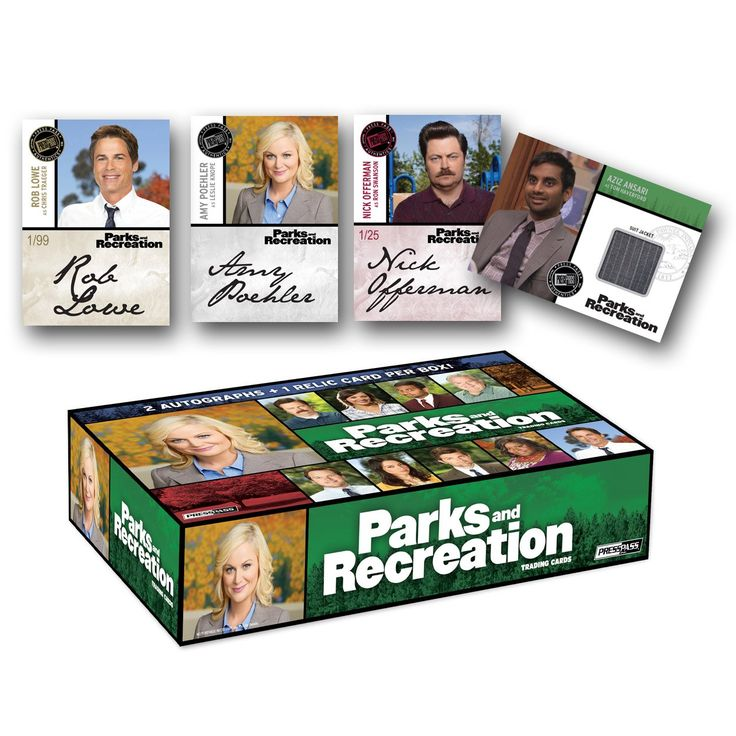 Press Pass 2013 Parks and Recreation Factory Sealed Trading Card Hobby Box. TWO Autograph cards per box!. ONE Wardrobe card per box!. ***Images for promotional purposes only***.