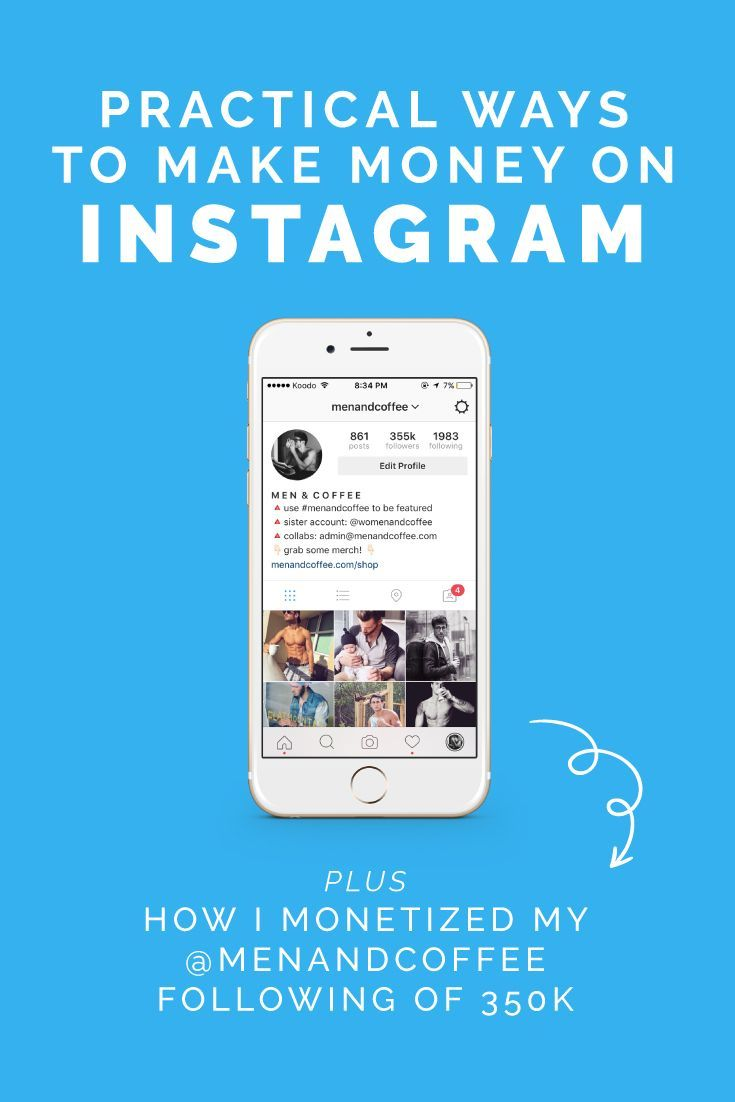 Awesome blog post by Instagram expert, Alex Tooby. She gives you some practical ways to make money on instagram, today! Also learn how she personally monetizing her account @menandcoffee!
