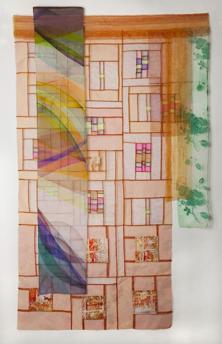 "Bojagi:  ""Lightscreen #1"", 42 x 25"", by Ruth Marchese. Silk/cotton, polyorganza, silk-screened silk.  Textile Study Group of New York."