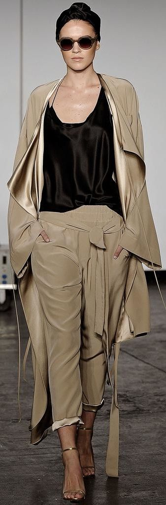 Juan Carlos Obando ~ Spring Taupe Silk+Satin Topper w Trousers 2015