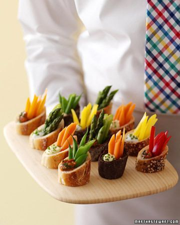Great idea for a wedding shower (Karin Keeling) or any party!  1 large French baguette 1 cup vegetable dip Sliced vegetables (carrots, celery, red bell pepper, cucumber, etc.) Directions: Slice a little off of each baguette and then cut into four equal parts. On an angle, cut each wedge in half. Create two vegetable boats out of each part. Hollow out the bread boat, but leave the bottom so it will hold the dip. Add two tablespoons of dip per boat and fill with sliced vegetables.