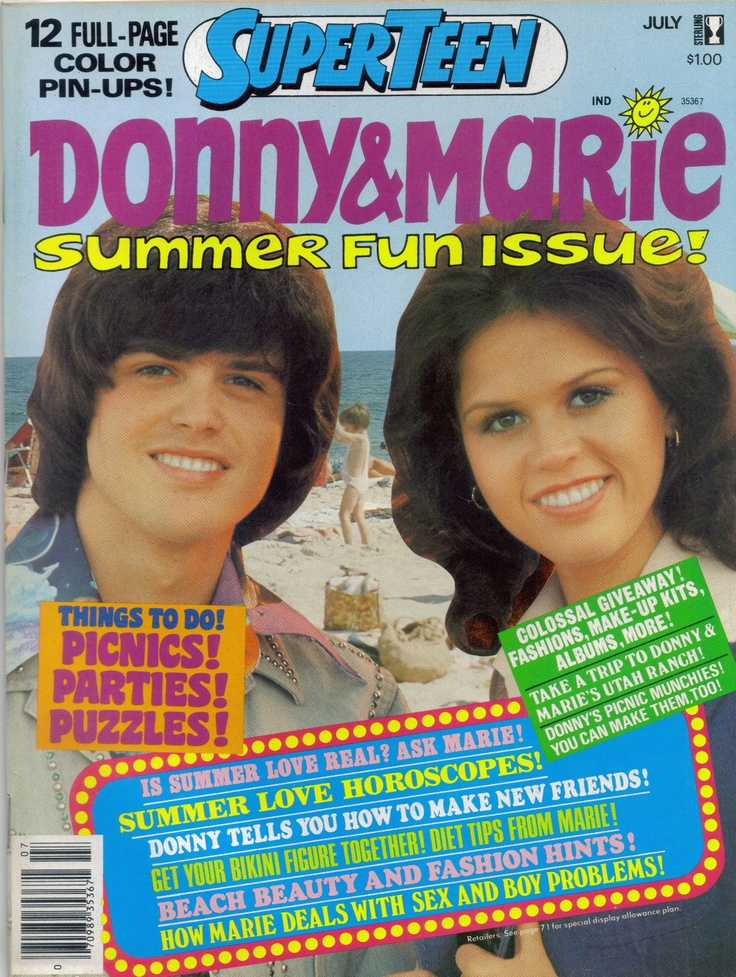 SUPER TEEN MAGAZINE JULY 1977 DONNY AND MARIE OSMOND.I loved Donny Osmond so much still do.Please check out my website thanks. www.photopix.co.nz