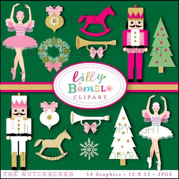 Christmas clipart from The Nutcracker Sugar Plum Fairy Trees, Wreath. $5.00, via Etsy.