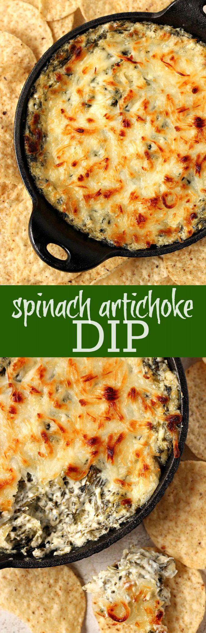 Spinach Artichoke Cheesy Dip - hot and cheesy and everything a good dip should be! This classic is unbeatable and a must make for any party!